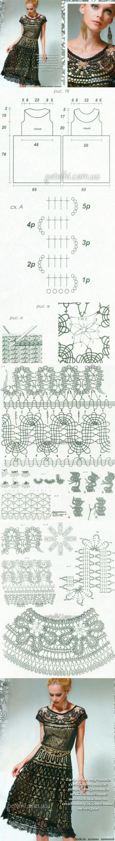 Dress in technology Bruges lace. knitting Schemes description