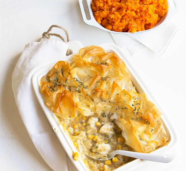 Creamy chicken and corn filo pie - Midweek dinners are made tasty, healthy and filling with this creamy chicken pie