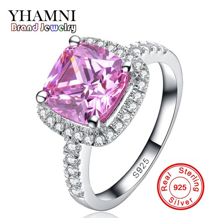 Lose Money Promotion! Fine Jewelry Solid Silver Rings for women Luxury 3 Carat Pink CZ Diamond Engagement Ring Wholesale BKJZ031