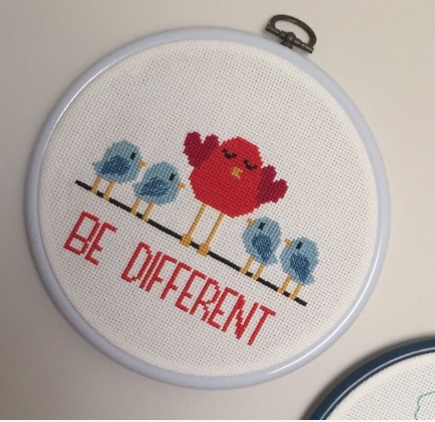 Cross stitch, handmade, embroidery, be different
