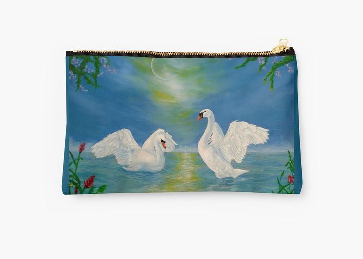 Studio Pouch,  swans,blue,cool,beautiful,unique,trendy,artistic,unusual,accessories,for sale,design,items,products,ideas,carry all pouch,redbubble