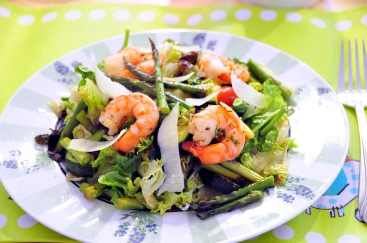 Easy, healthy recipe: Recipes Food, Roasted Shrimp, Easy, Shrimp Salads, Healthy Shrimp, Roasted Asparagus, Healthy Recipes, Asparagus Salad, Weeknight Dinners