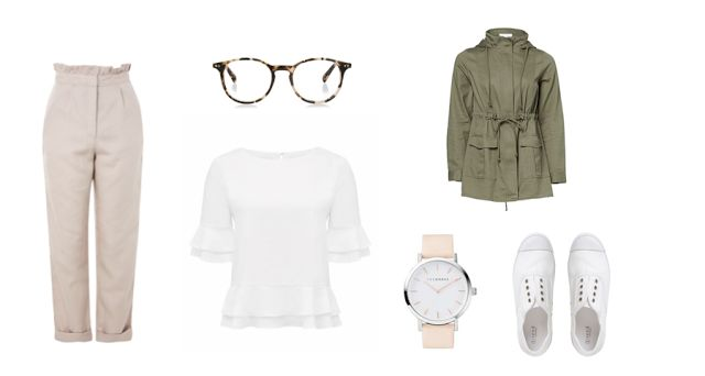 Style// closing// ideas: words by emily kate. #khakijacket #beiege #white #forevernew #shoes #thehorse #watch #glasses