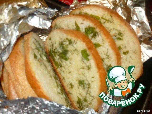 Чесночный хлеб с зеленью ингредиенты