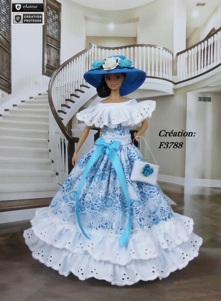 "Robe Barbie "" Noelani "" Vêtement pour poupée Barbie Silkstone Fashion Royalty Muse f3788"