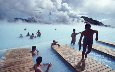 Icelandic people at one of their most famous volcanic spas, the Blue Lagoon