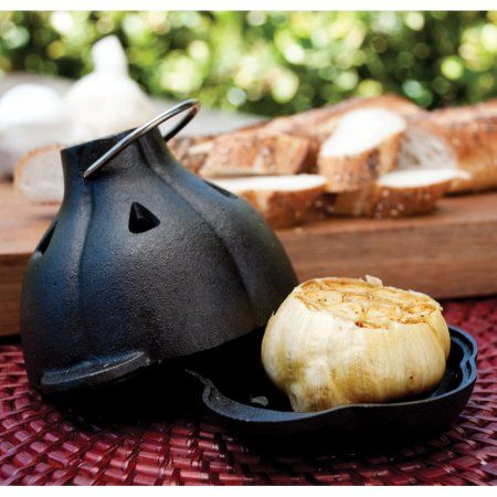 Charcoal Companion Cast Iron Garlic Roaster and Squeezer Set - For Kitchen or Grill