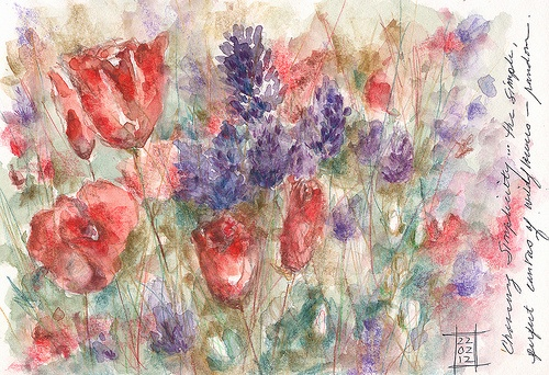 wildflowers... original watercolor by Kathleen Pequignot