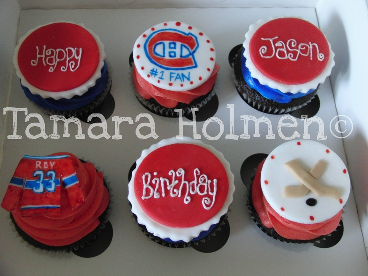 Cupcake Decorating Ideas Hockey : Montreal Canadian (Habs) Cupcakes try Pinterest ...