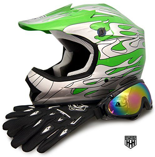 HHH DOT Youth & Kids Helmet for Dirtbike ATV Motocross MX Offroad Motorcyle Street bike Green Flame + WITH FREE GLOVES AND GOGGLES (Small)  Please measure for size. Each manufacturers sizing is different. SIZE CHART (Circumference of the largest part of the child's head, usually just above the eyebrows) in inches: Youth Small: 19.2 to 19.7 to, Youth Medium: 20.1 to 20.5, Youth Large: 20.9 to 21.5, Head shapes can affect how a helmet fits. The size chart is meant to be a starting point....