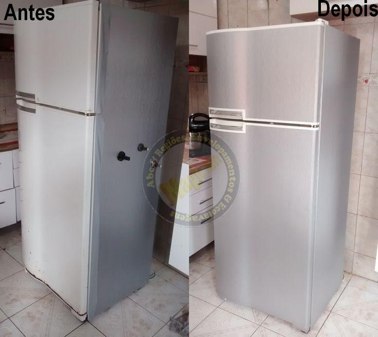 Envelopamento completo de geladeiras em inox escovado Consulte...whats 9-9128-6550