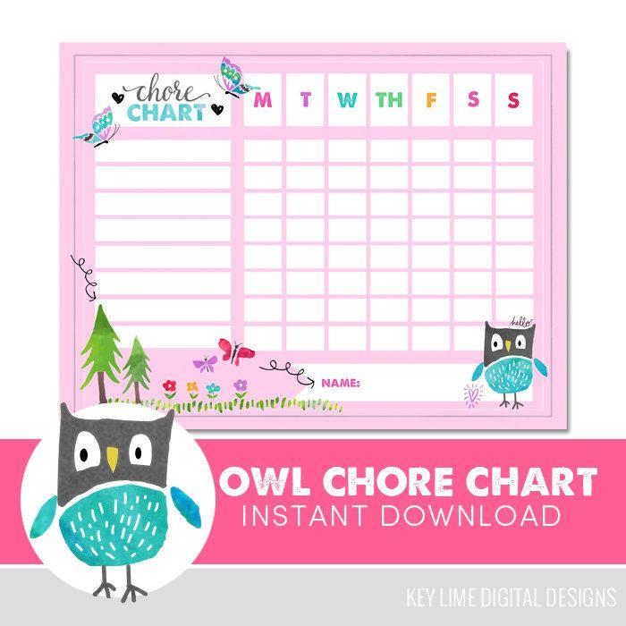 Kids Chore Chart  - Owl - Reward Chart - Behavior Chart - Potty Training - Watercolor - Instant Download by keylimedd on Etsy https://www.etsy.com/listing/489965913/kids-chore-chart-owl-reward-chart