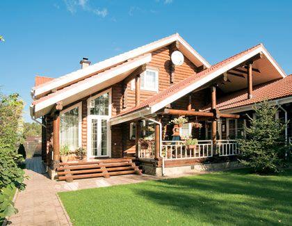 Двухэтажный дом из оцилиндрованного бревна   Дома из оцилиндрованного бревна   Журнал «Деревянные дома»