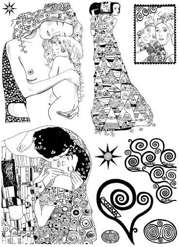 GUSTAV KLIMT nr.1- The Kiss -Set of unmounted rubber stamps by Cherry Pie