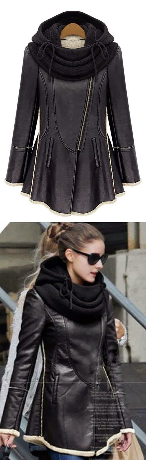 MODE THE WORLD: Woolen Collar Black Leather Jacket