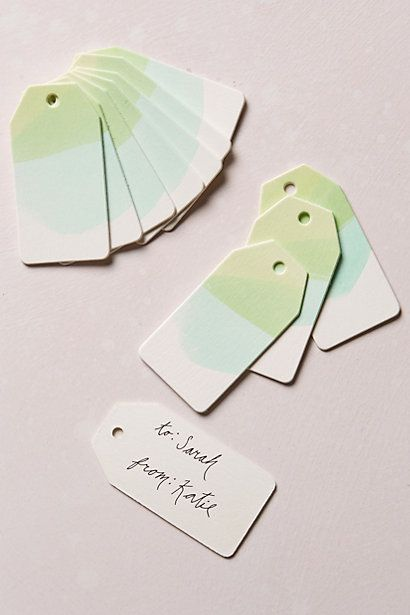 Could totally make these for way cheaper! Watercolor Gift Tags - anthropologie.com