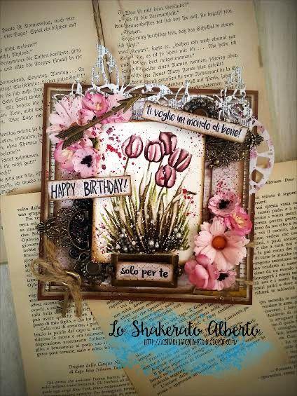 """Card 15"""" x 15"""" with """"Fatina e Fiori"""" plate stamps - by Lo Shakerato Alberto"""