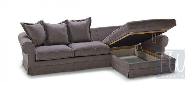 Sofa modułowa Natalie 3-os. z szezlongiem rozkładana + pojemnik na pościel…