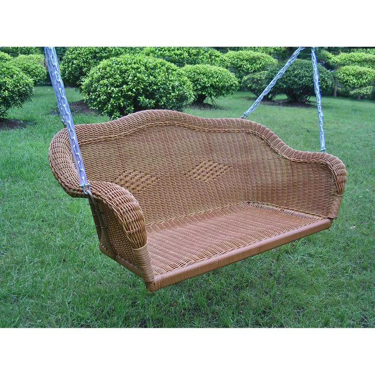 International Caravan Chelsea Wicker Hanging Porch Swing
