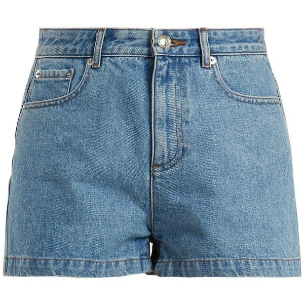 A.P.C. High Standard denim shorts ($134) ❤ liked on Polyvore featuring shorts, light blue, jean shorts, mid rise denim shorts, light blue shorts, embellished jean shorts and embellished denim shorts