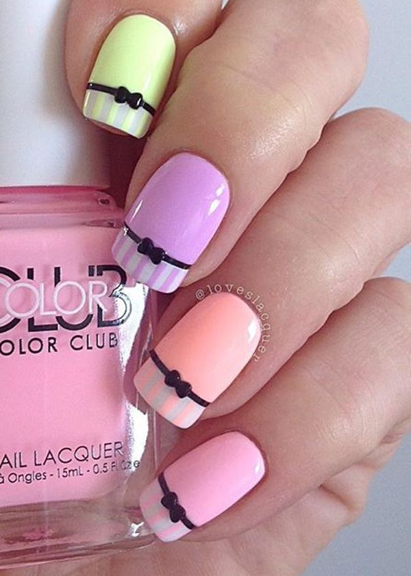 Very cute bow inspired spring nail art design. Add style to your regular bow nail art design by making the French tip a striped one leaving the rest of the inner nails in matte color.