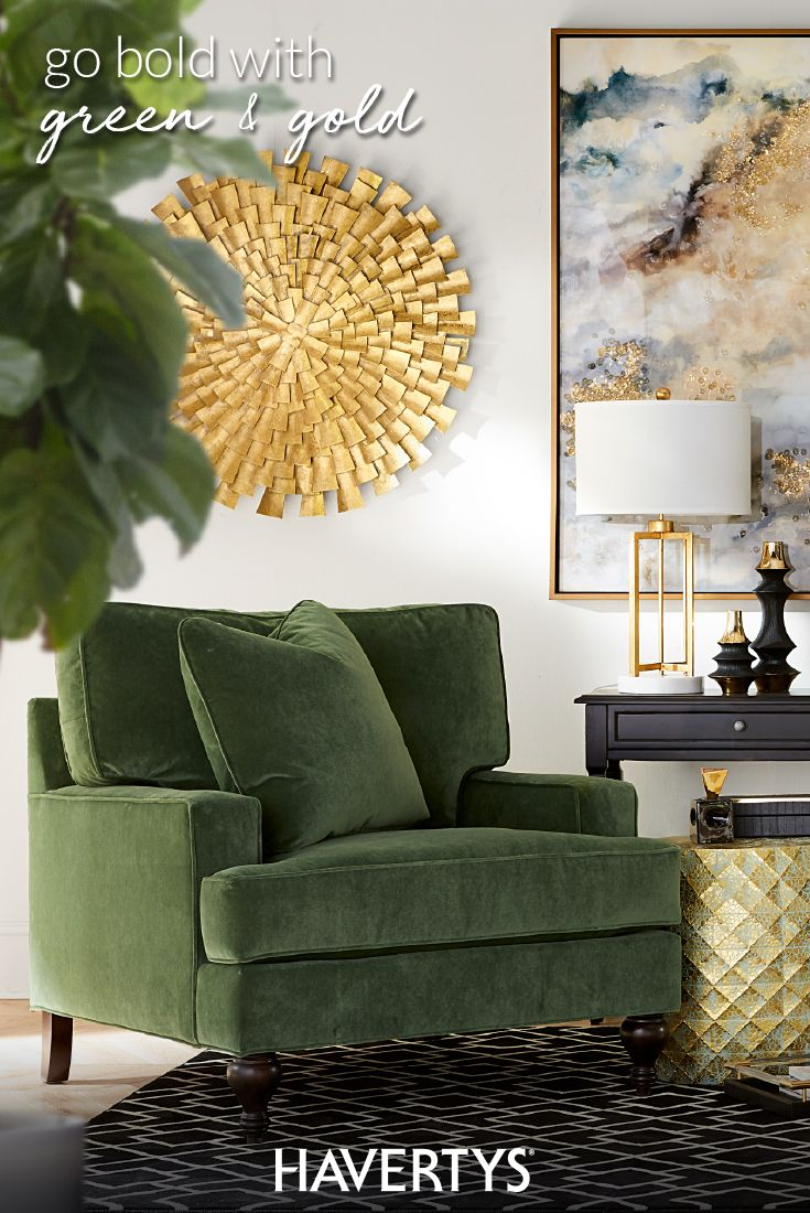 Don't be afraid to play with lush green in your space. Modern accessories in black, white and gold are the perfect complement to vivacious emerald upholstery. Find the right home décor mix of contemporary style and boho vibes with Metro Luxe – a collection of versatile accents that work from room to room.