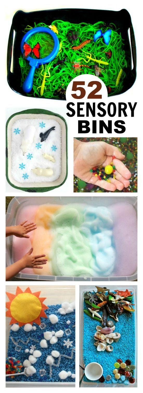 52 MUST-TRY SENSORY BINS FOR KIDS.  Great ideas here!!