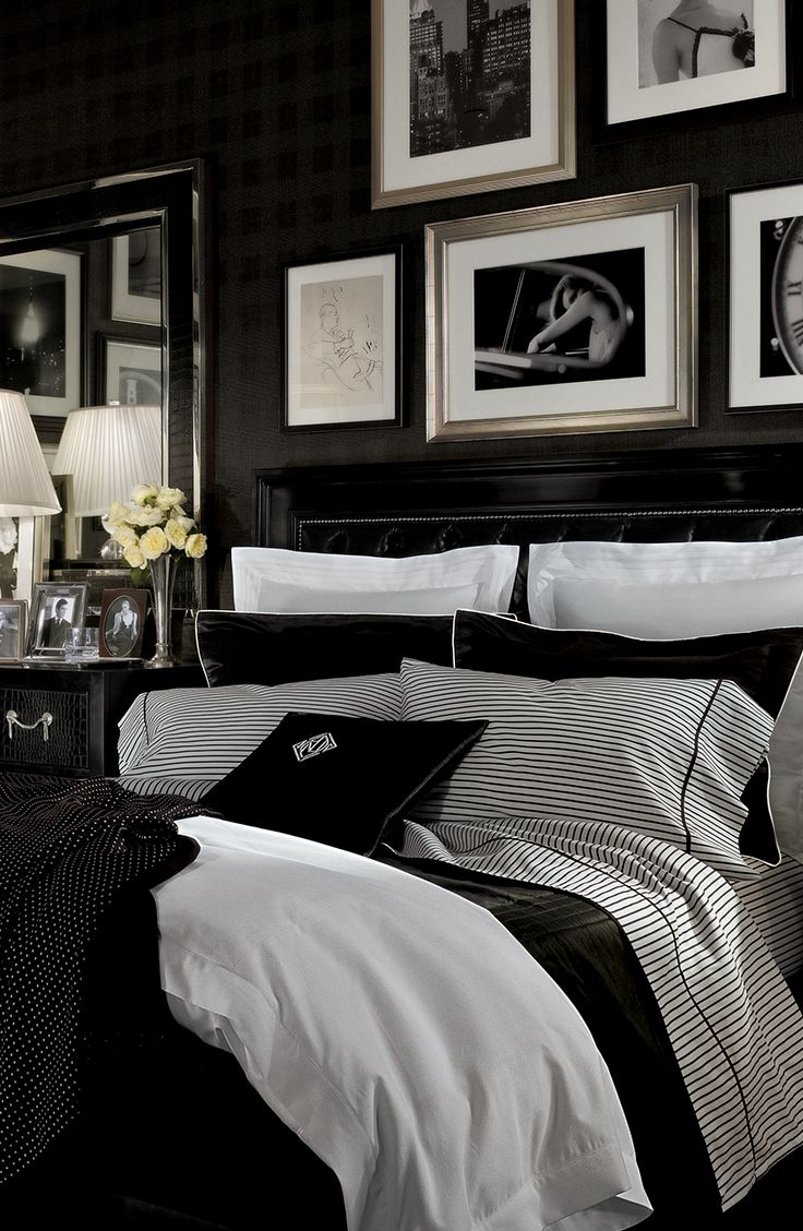Ralph Lauren Home Brook Street bedding defines Art Deco glamour in high-contrast black and white shirting stripes and pindots, crisp tuxedo pleats and sleek modern styling