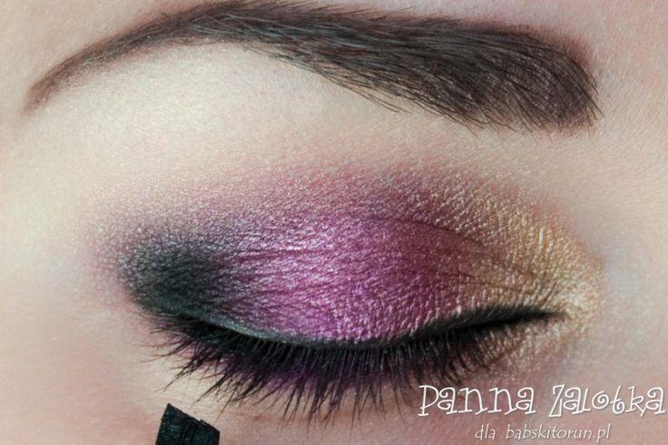 makijaż andrzejkowy w złocie i fiolecie - purple and gold makeup