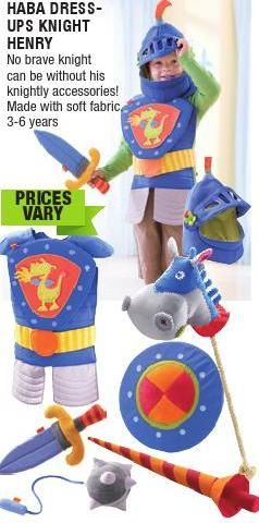 How awesome is this costume?!! My 4yo actually learnt about knights at preschool this year and has been interested in them ever since. This costume is a great alternative to superhero costumes and both my boys would benefit. #entropywishlist #pintowin #ClippedOnIssuu from Entropy Christmas Catalogue 2014