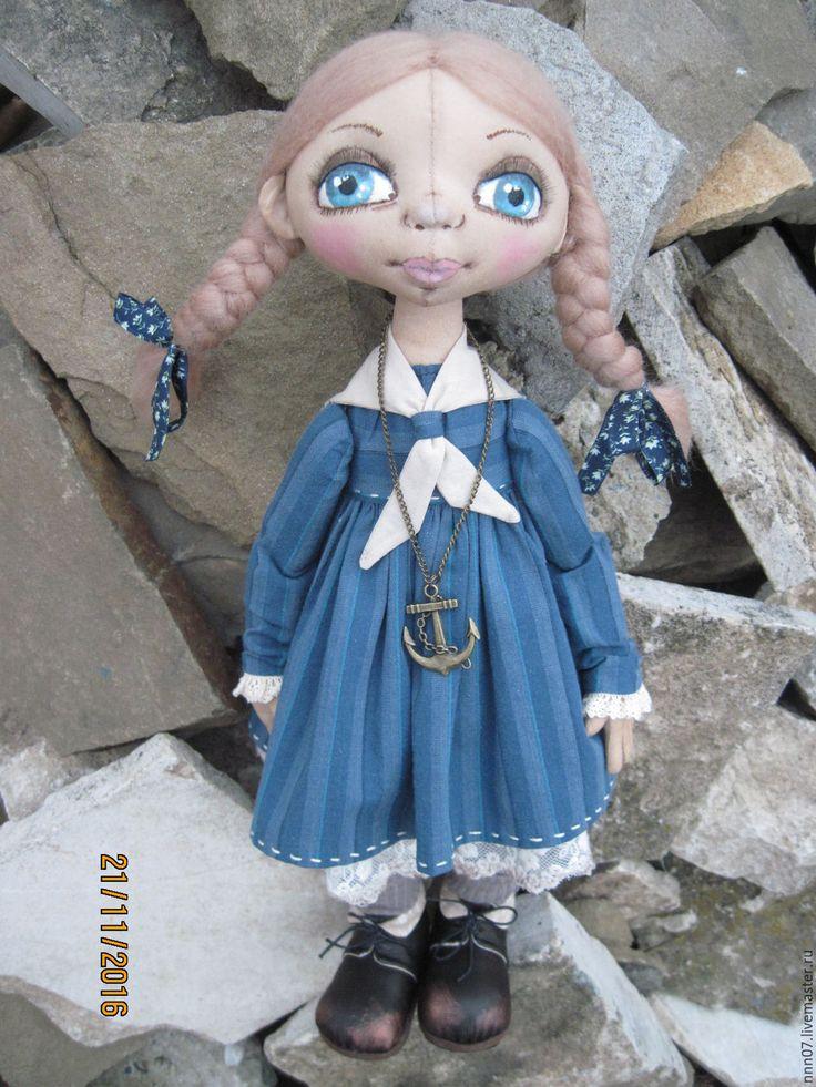 Купить Авторская кукла. Хорошая девочка Лида - синий, кукла ручной работы, кукла в подарок
