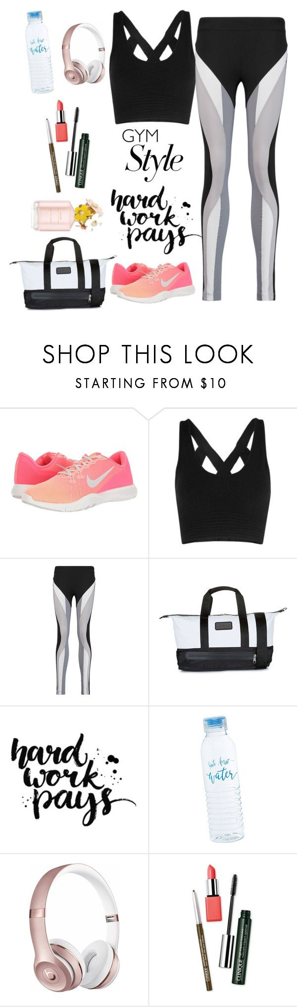 """Gym"" by putrinaini on Polyvore featuring NIKE, No Ka'Oi, adidas, Beats by Dr. Dre, Clinique and Marc Jacobs"