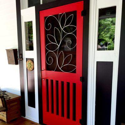Susan Wallace's custom grillwork art for a screen door