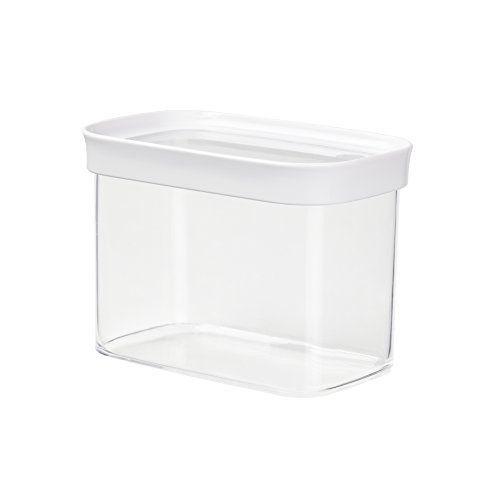 Emsa 513557 Boîte à provision pour produits secs, empilable, 100% hygiène et sécurité , 1.0 Litre, Rectangulaire, Blanc/Transparent, Optima…