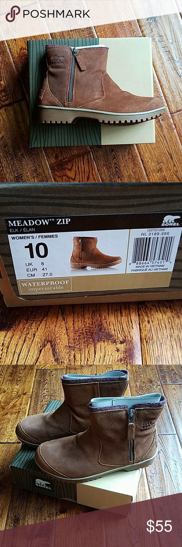 New in box Sorel meadow zip boots Winter sale in summer! Great pair of timeless boots Sorel Shoes