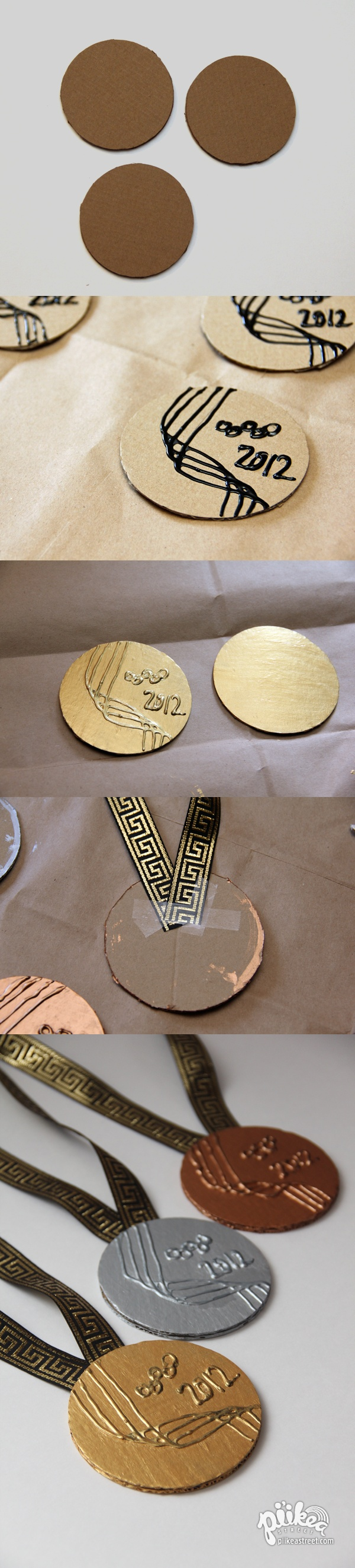Turn cardboard into Olympic Medals. An Original #kids #craft by www.piikeastreet.com #piikeastreet                                                                                                                                                                                 Más