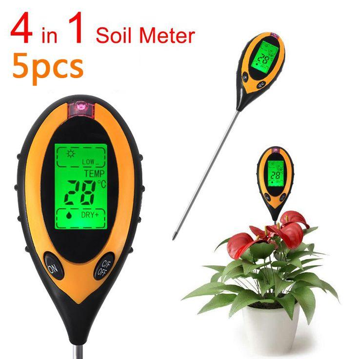 5 PCS 4 Em 1 Planta Digital Higrômetro Termômetro medidor de PH Do Solo medidor de Umidade do Solo Medidor de Luz Interior Para Crescer Planta Luz Solar metro
