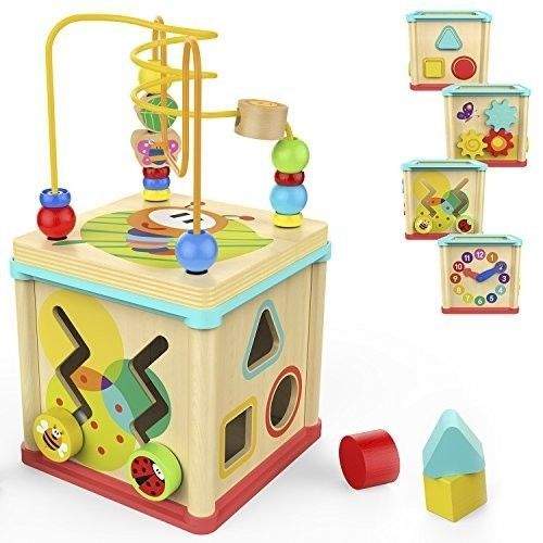5 In 1 Wooden Learning Activity Center Kids Developmental Baby Toddlers Toy New