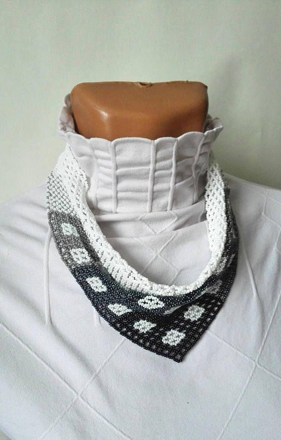 scarf rhombus neckerchief solitaire beaded Beaded Necklaces