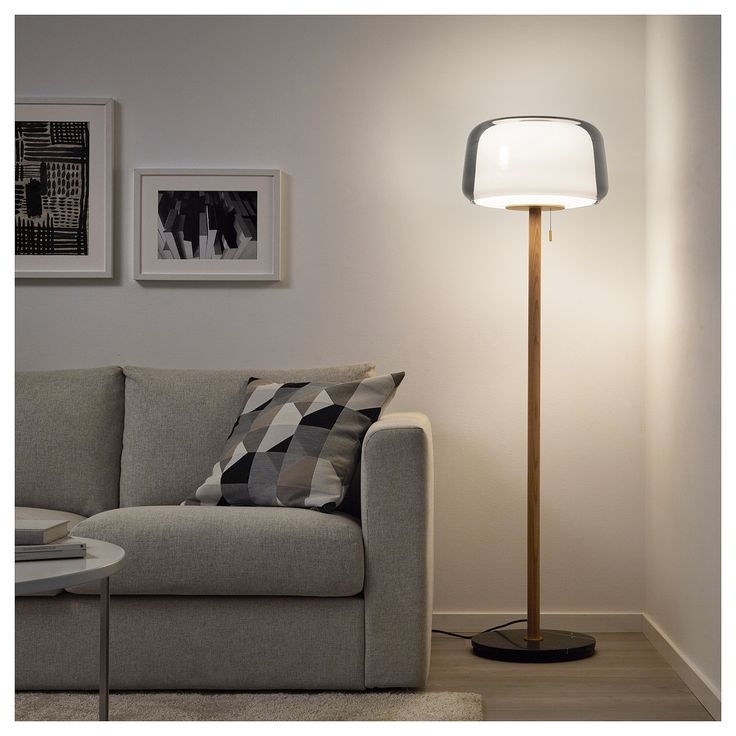 IKEA EVEDAL Marble Gray, Gray Floor lamp with LED bulb in