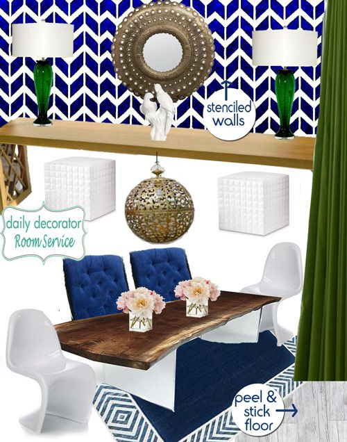 Daily Decorator Moodboard For Emily Hendersons Dining Room Navy And Kelly Green Are Brilliant Together