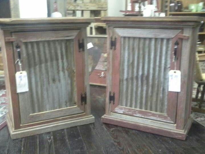 Tin and barn wood cabinet horse trailer redo pinterest for Old barn tin ideas