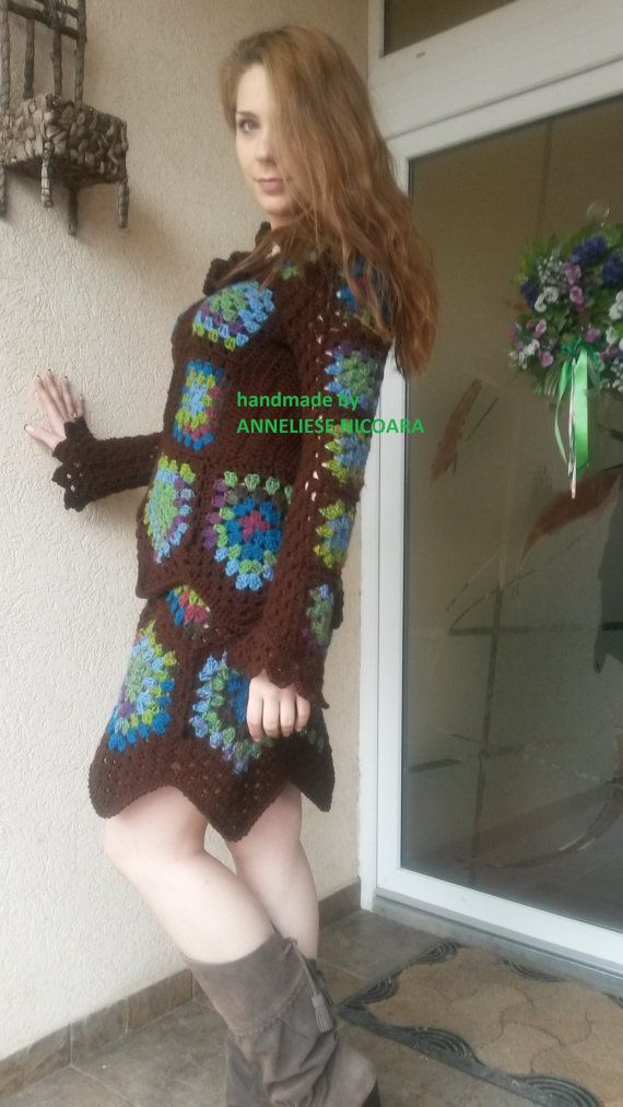 Women's suit jacket and skirt knitted suit by AnnesMagicCrochet