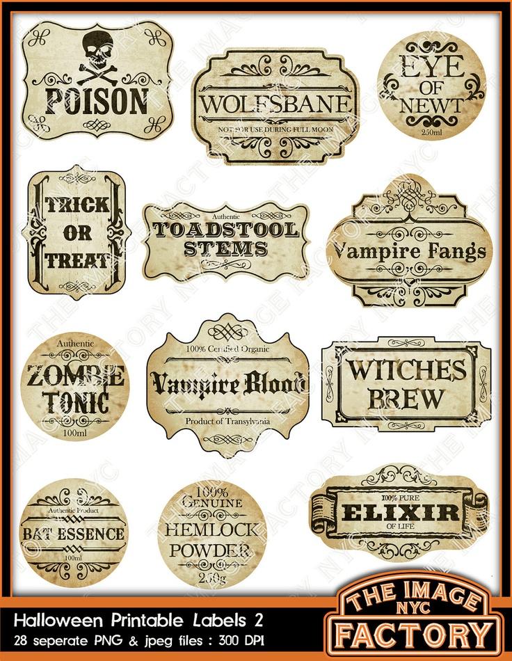 halloween printable labels - Pinterest Halloween Printables