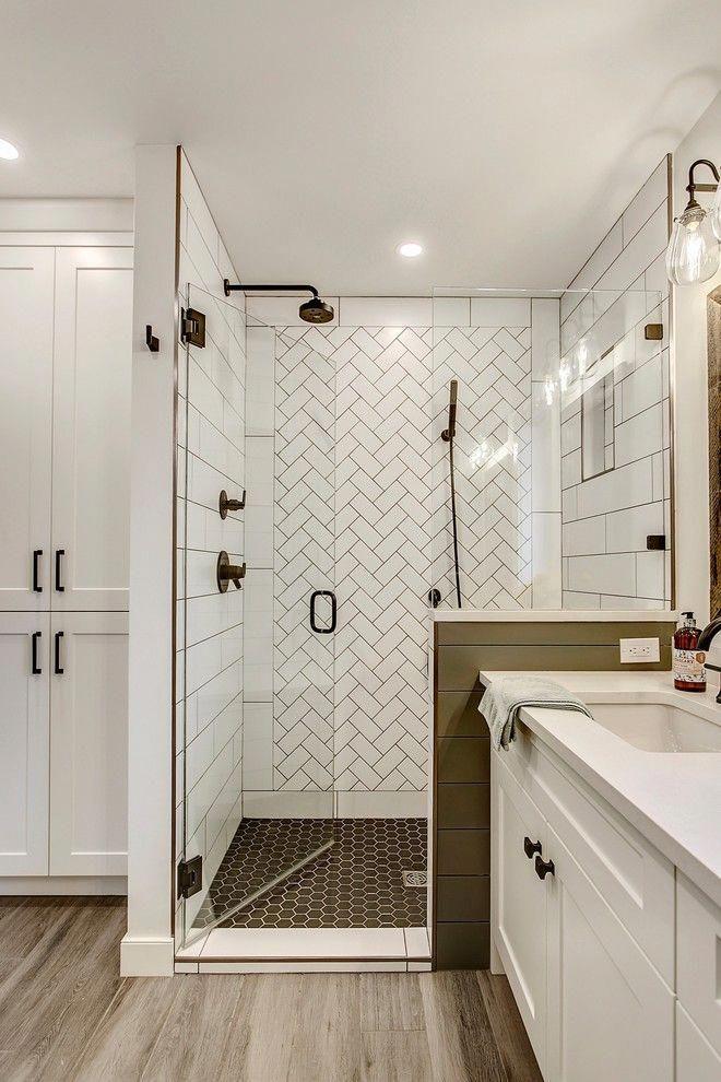 Master Bath White Subway Tile Focal