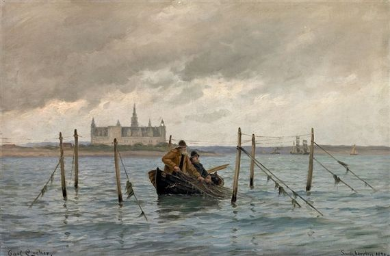 Carl Locher (1851-1915): Costal scenery at Kronborg Castle with fishermen in a boat, 1890