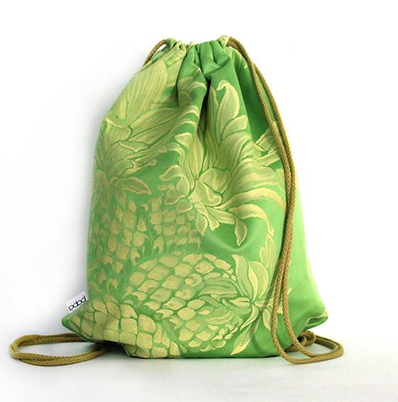 Pineapple madness silk cotton drawstring bag backpack by PopaStore on Etsy