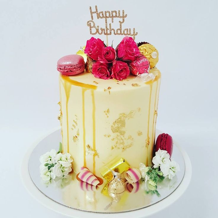Tall Smooth Cream with Gold Leaf and Fresh flowers with pink and gold toppings