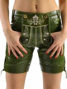 Almbock Lederhose Damen Sophie Ziege-Nappa grün