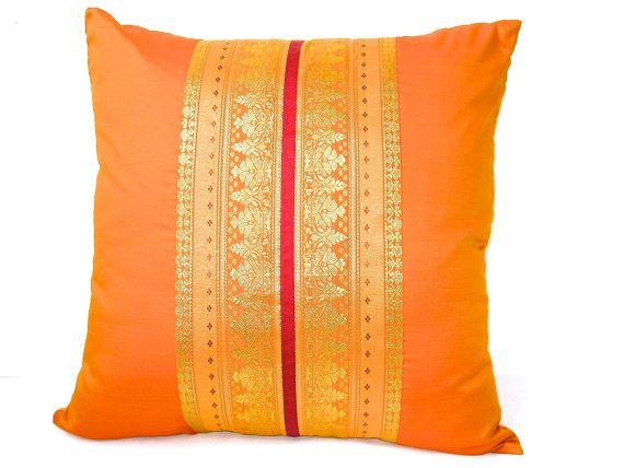 Sunrise - Handmade Decorative Pillow made of beautiful Indian Silk Sari